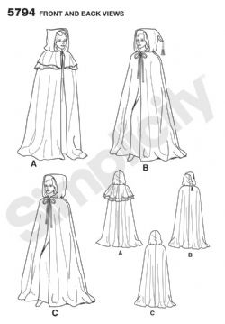 5794 Simplicity Pattern: Misses' Capes
